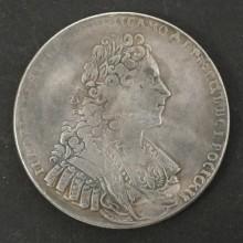 Серебряная монета 1 рубль 1729 Пётр II