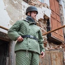 Куртка зимняя Люфтваффе зелёная стёжка ромбик